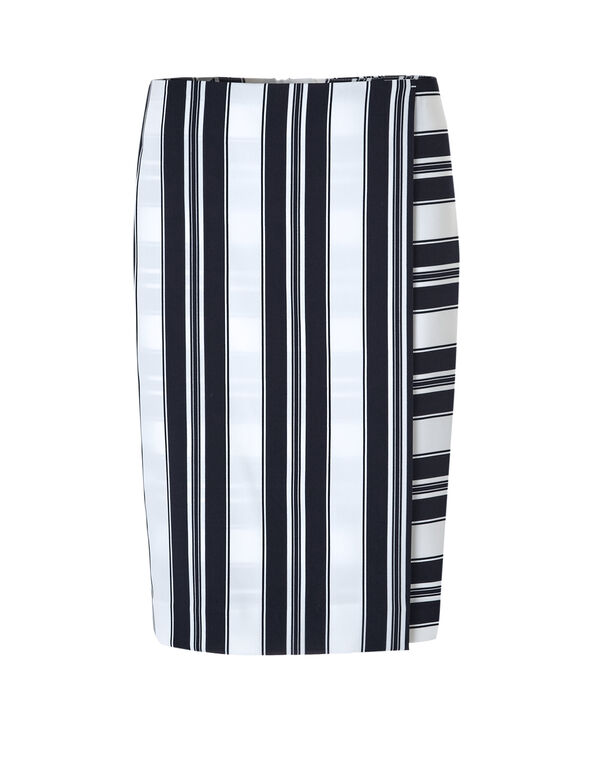 Navy Faux Wrap Skirt, Navy/White, hi-res