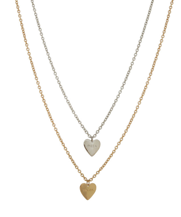 2 piece heart charm necklace, GOLD/SILVER, hi-res