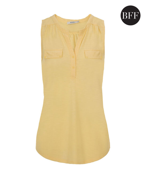 Henley Pocket Tank, Washed Yellow, hi-res