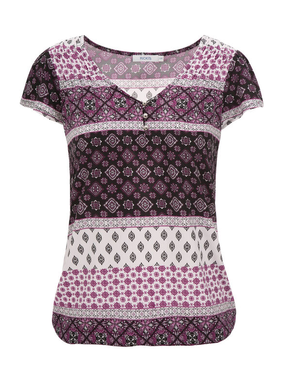 Short Sleeve Bubble Henley, Plum Print, hi-res