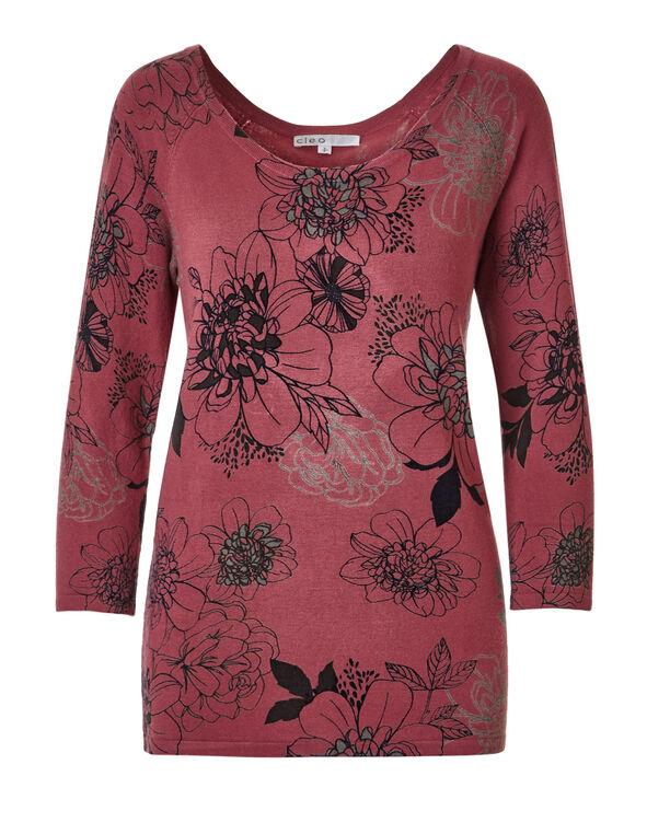 Lipstick Floral Pullover Sweater, Lipstick/Black/Grey, hi-res