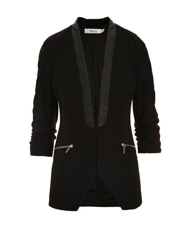 Faux Leather Trim Blazer, Black, hi-res