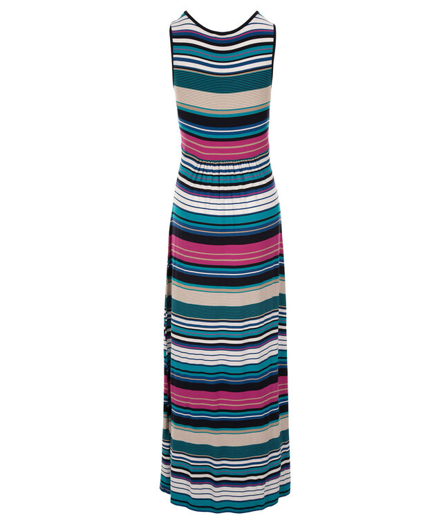 Keyhole Striped Maxi Dress, Pink/Teal/Black Stripe, hi-res
