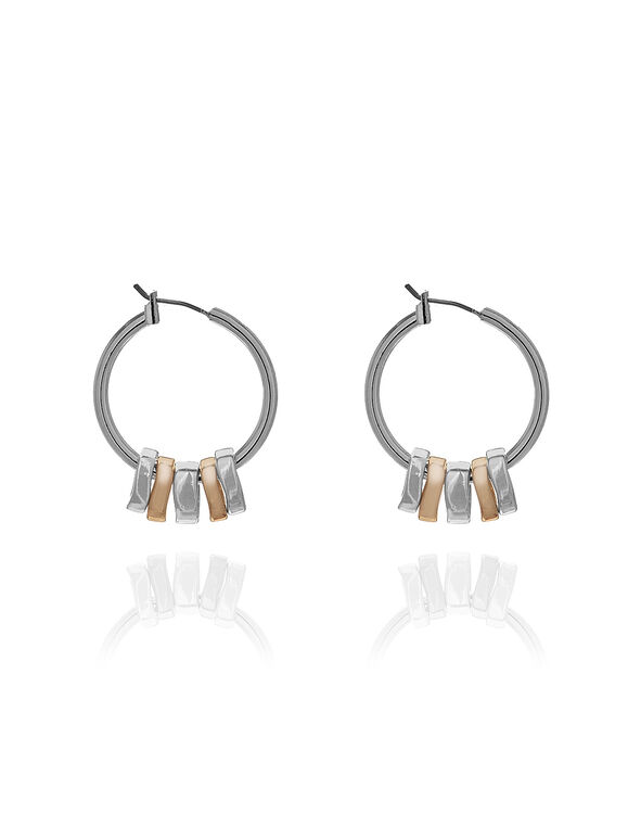 2 Tone Small Hoop Earrings, Rose Gold/Silver, hi-res