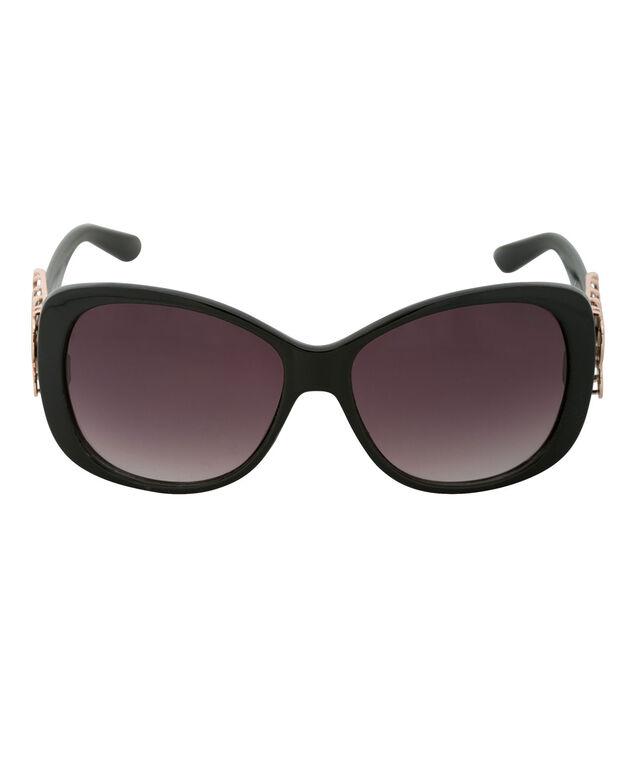 Cut-out Temple Sunglasses, Black, hi-res