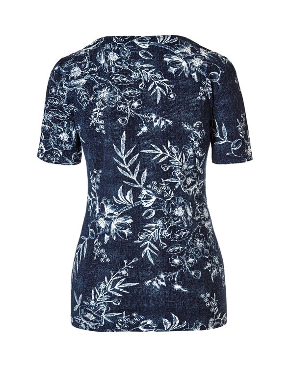 Navy Floral Top, Navy/White, hi-res