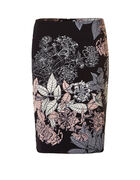 Floral Print Pencil Skirt, Black/Soft Pink/Ivory, hi-res