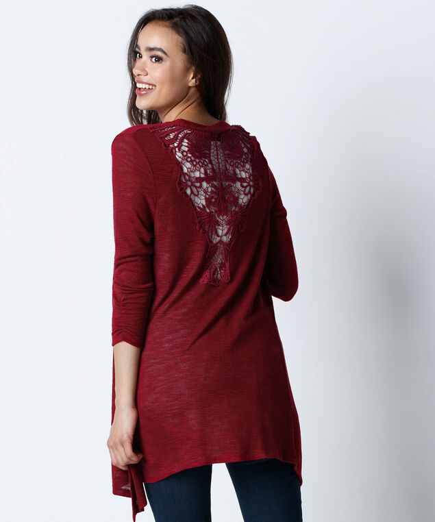 Crochet Back Cardigan, Cranberry, hi-res