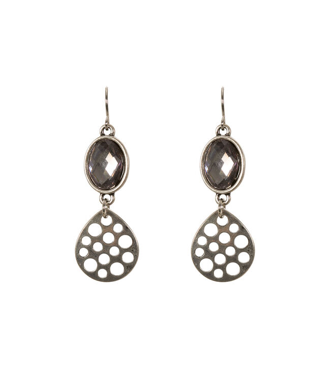 Stone Drop Earring, Burnished Silver, hi-res