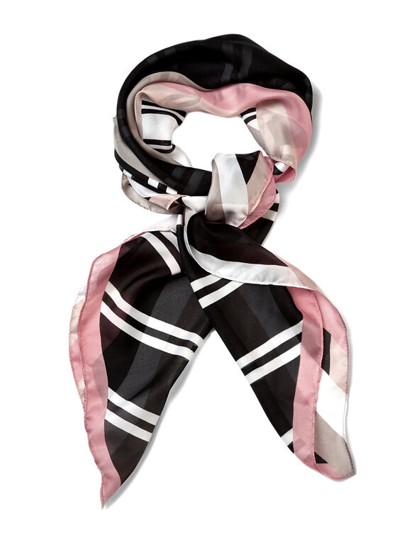 Pink Geo Square Scarf, Pink/White/Black, hi-res