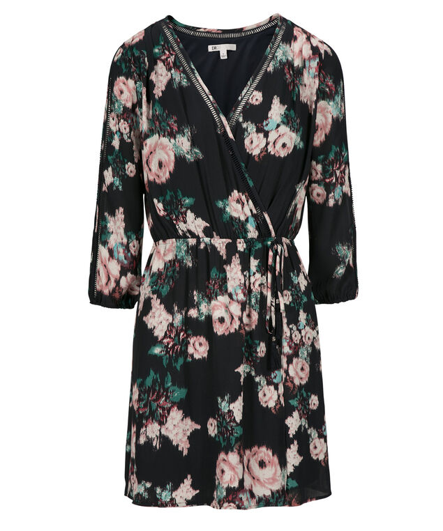 Cold Shoulder Print Dress, Blue/Pink Print, hi-res