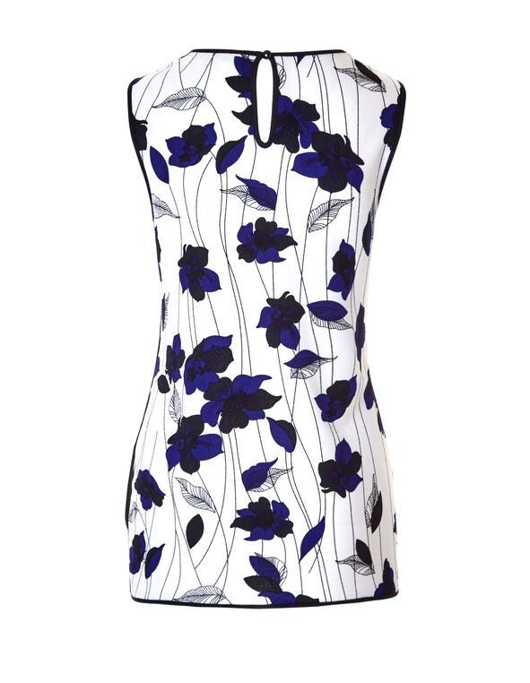 Blue Floral Print Piped Top, White/Royal Blue/Black, hi-res