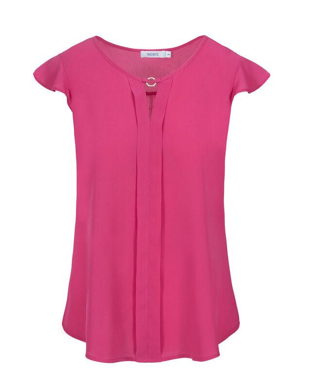 Cap Sleeve Keyhole Blouse, Vibrant Pink, hi-res