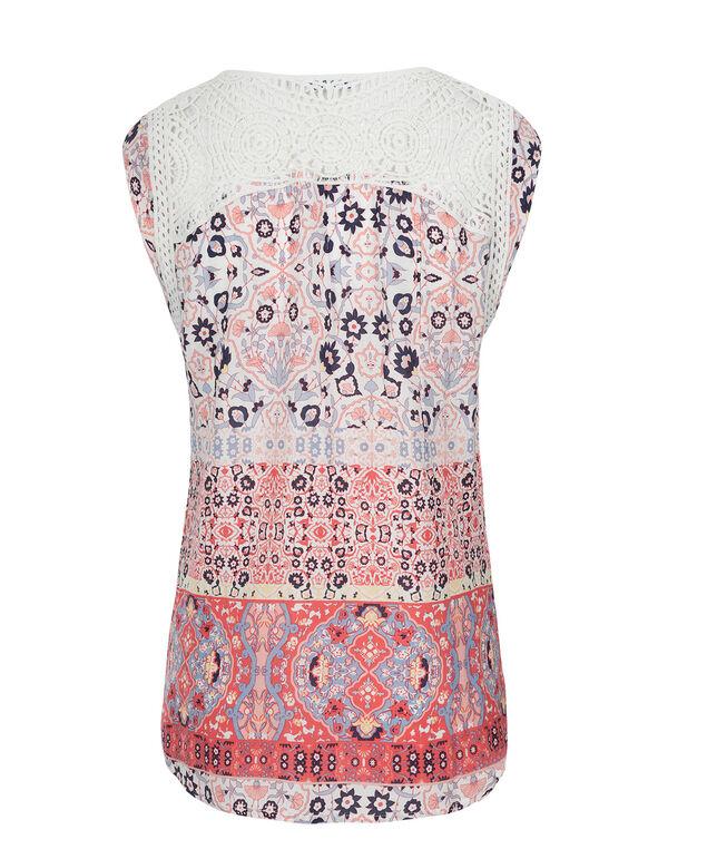 Crochet Trim Blouse, Coral Print, hi-res