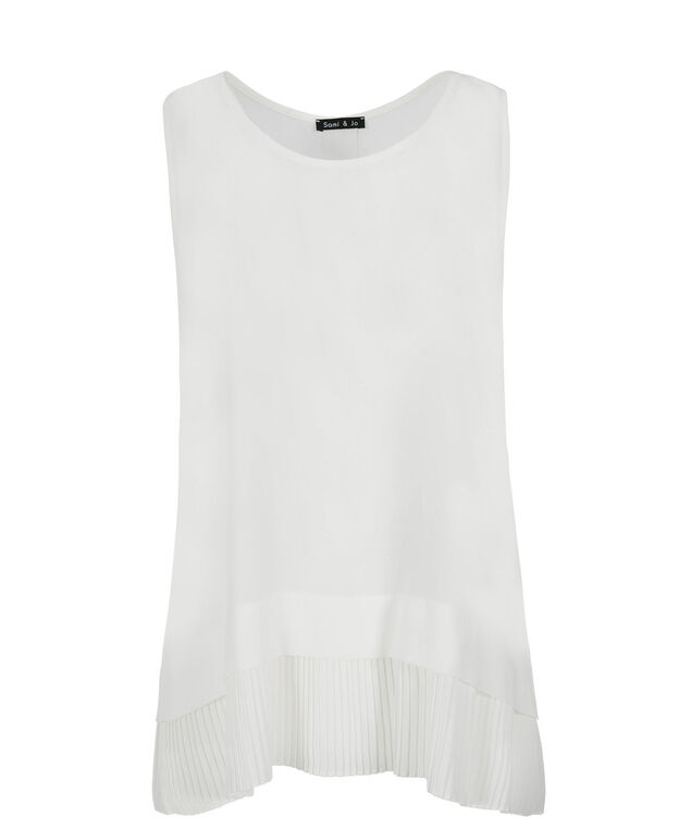 Pleat Hem Tank, White, hi-res