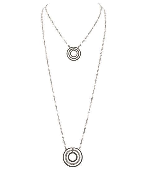 Layered Circle Pendant Necklace, Rhodium, hi-res
