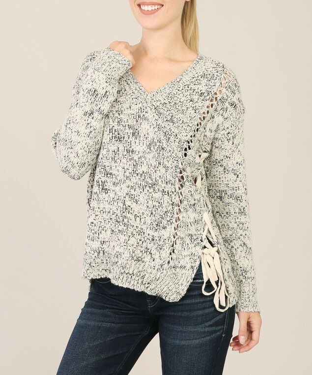 lace up sweater - wb, CREAM/BLACK MIX, hi-res