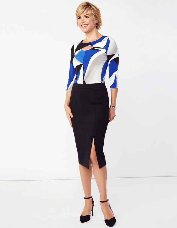 Pull-On Mid Length Pencil Skirt, Black, hi-res