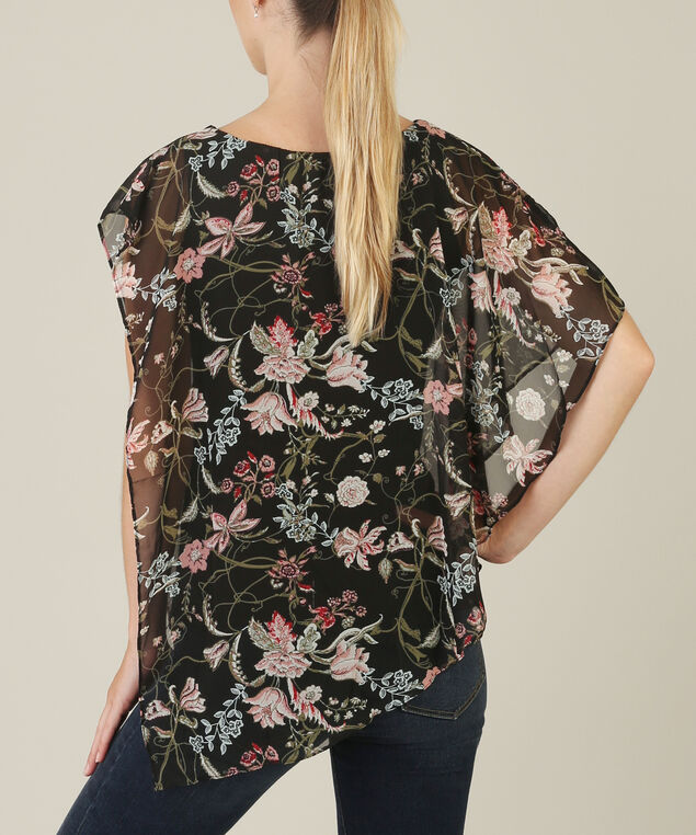 asymmetrical blouse - wb, BLACK/ROSE, hi-res