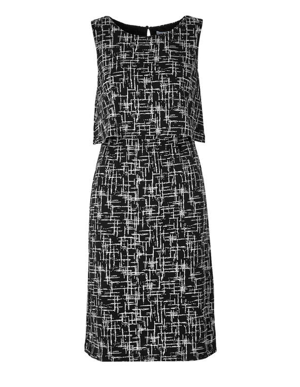 Geometric Print Popover Shift Dress, Black/White, hi-res