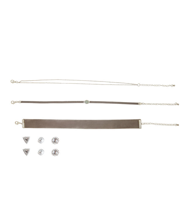 3 piece choker set & earrings, GREY/SILVER, hi-res