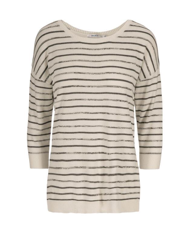 3/4 Sleeve Striped Pullover, Milkshake/Grey, hi-res