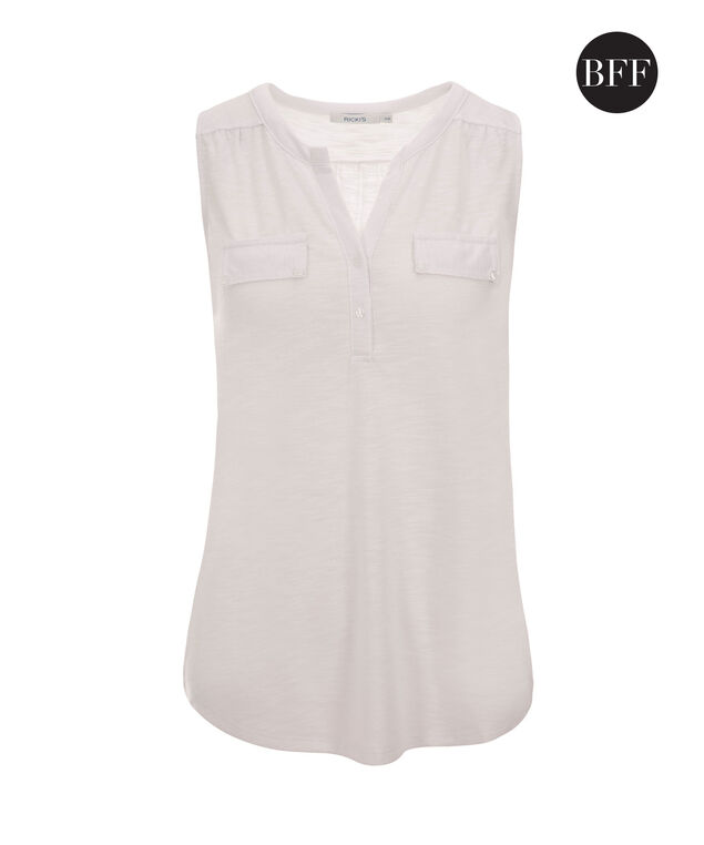 Henley Pocket Tank, True White, hi-res