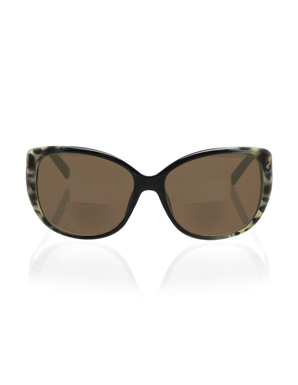 Leopard Bifocal Sun Reader, Black/Brown, hi-res