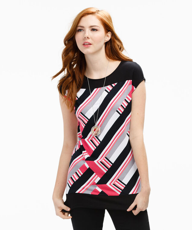 Banded Bottom Short Sleeve, Coral Print, hi-res