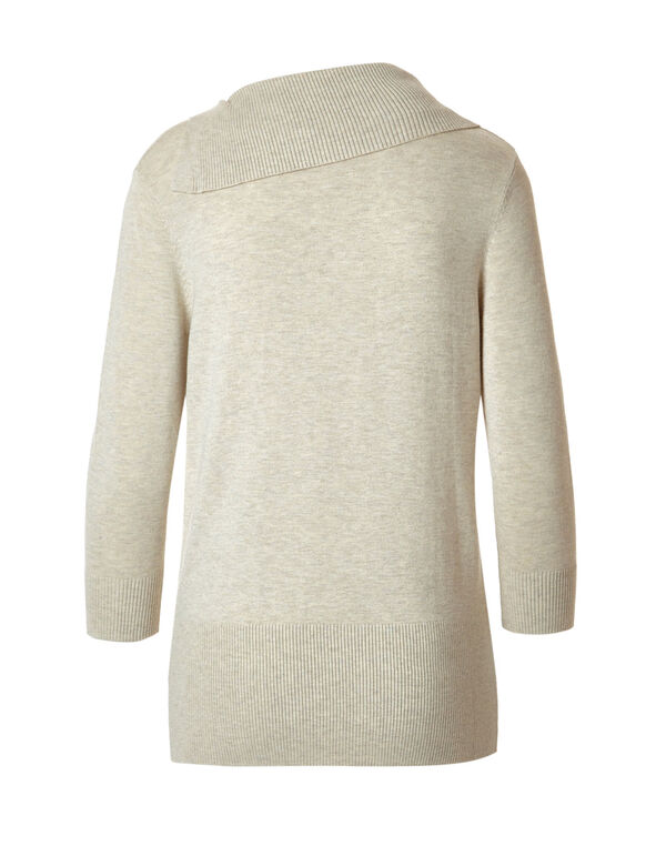 Latte Split Neck Sweater, Latte Mix, hi-res
