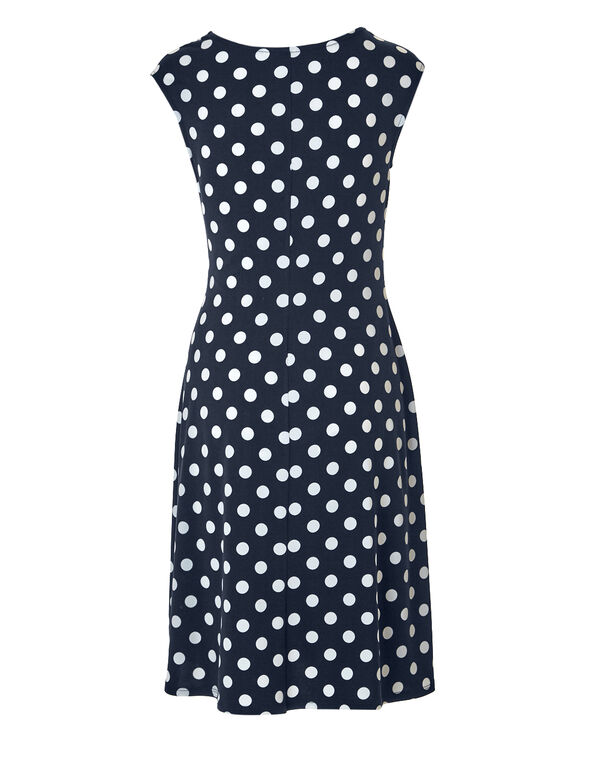 Navy Dot Side Knot Dress, Navy/White, hi-res