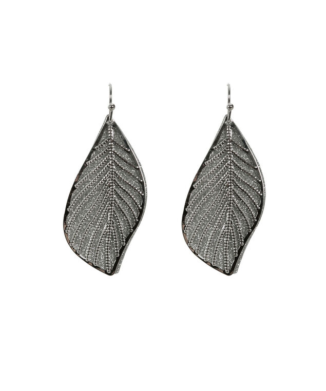 Leaf Shape Glitter Earring, Rhodium, hi-res