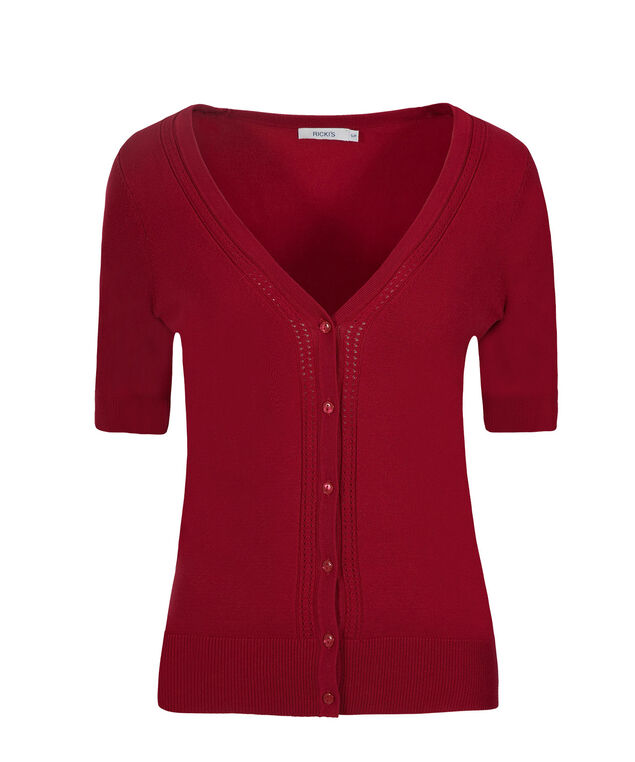Elbow Sleeve Cardi, Poppy Red, hi-res