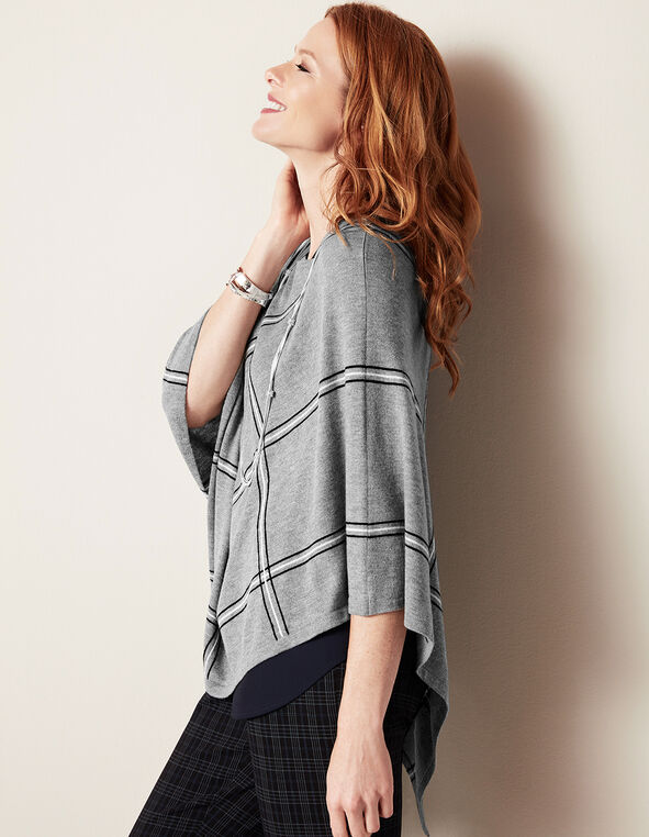 Plaid Button Poncho Sweater, Light Grey/Black/White, hi-res
