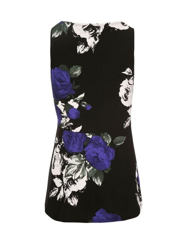 Floral Peplum, Cobalt Print, hi-res