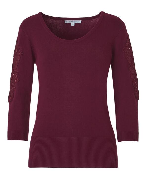 Claret Lace Sleeve Sweater, Claret, hi-res