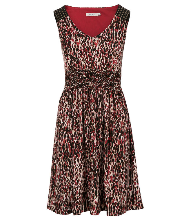 Smocked Waist Knit Dress, Red Animal Print, hi-res