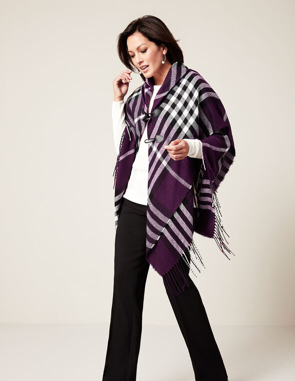 Deep Plum Fringe Poncho, Deep Plum/White/Black, hi-res