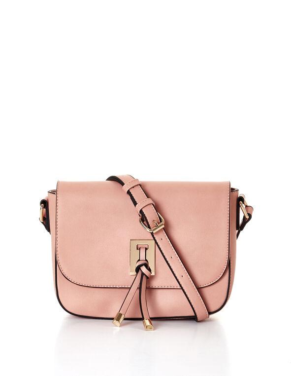Soft Pink Crossbody Saddle Bag, Soft Pink, hi-res