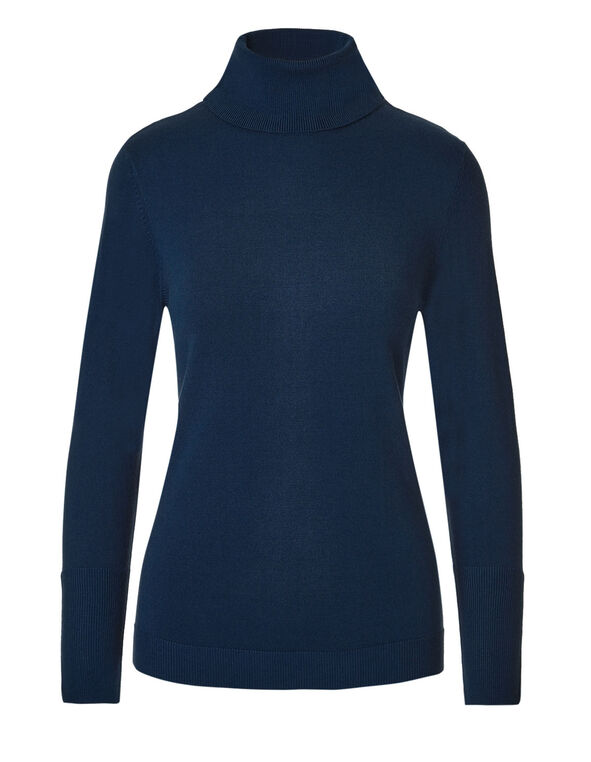 Navy Turtleneck Sweater, Navy, hi-res