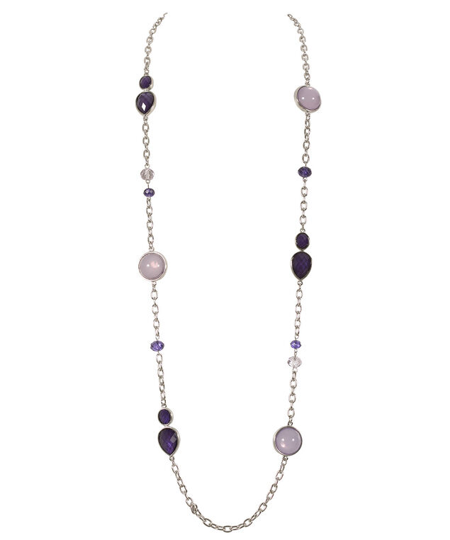 Stationed Teardrop Necklace, Royal Purple/Violet/Rhodium, hi-res