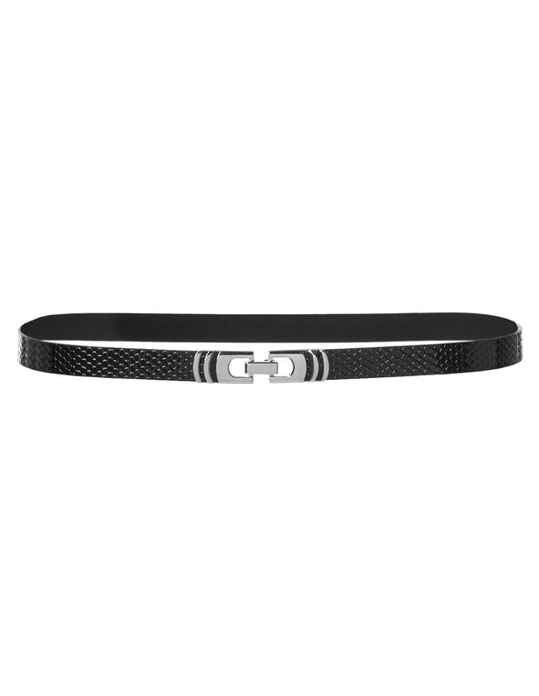 Black Patent Leather Belt, Black/Silver, hi-res
