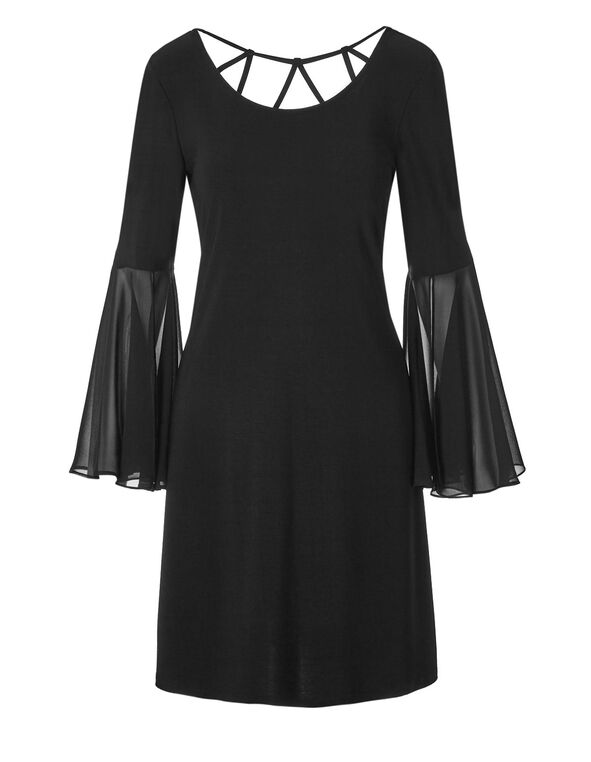 Black Bell Sleeve Dress, Black, hi-res