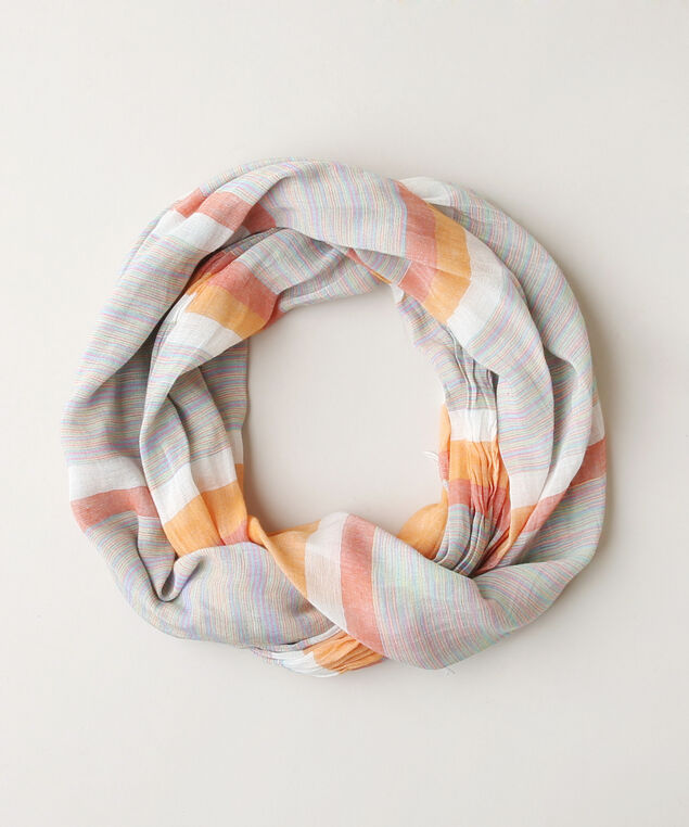 crinkle multi stripe scarf, ORANGE/GREE, hi-res