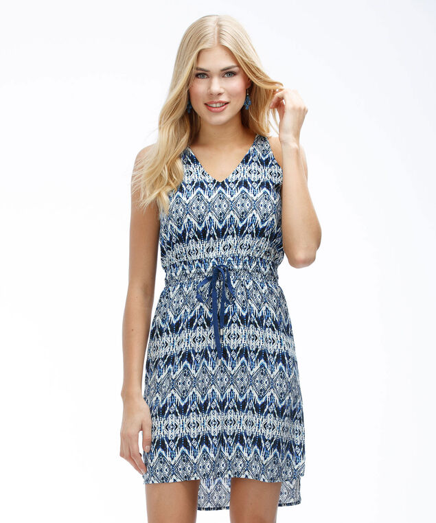 Printed Challis Dress, Blue Print, hi-res