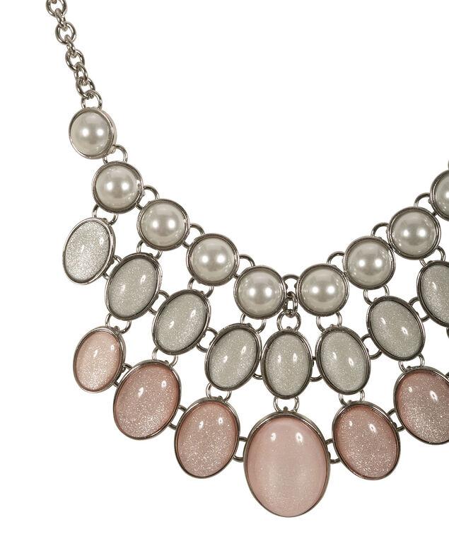 Glitter Stone Statement Necklace, Pink/White/Rhodium, hi-res