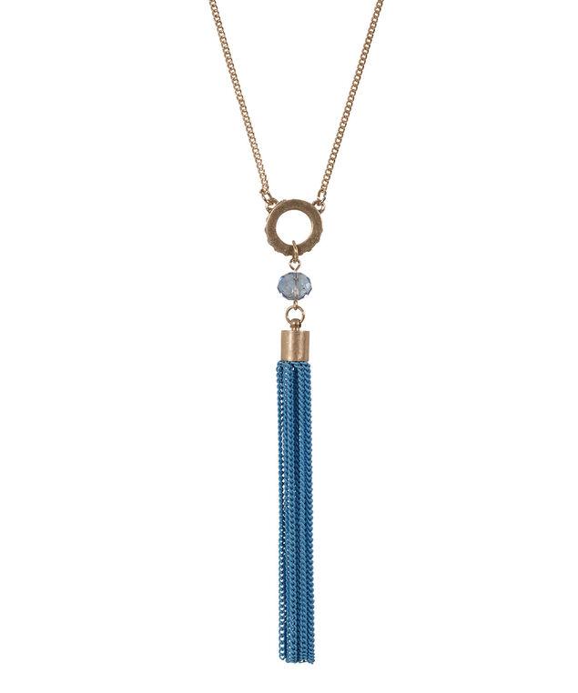 Colour Tassel Necklace, Sea Blue/Antique Gold, hi-res