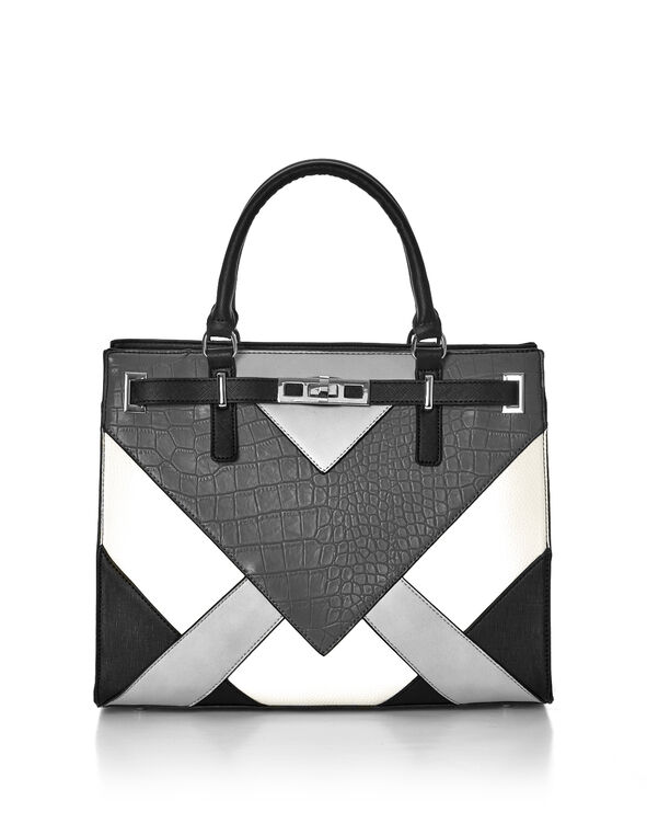 Grey Chevron Lady Bag, Grey/Ivory/Black, hi-res