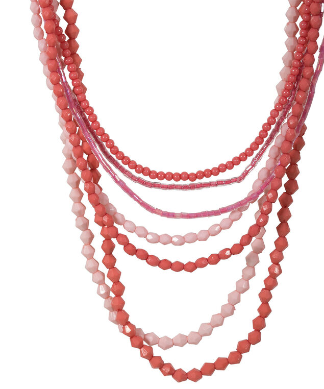 Shade Of Coral Necklace, Soft Coral/Coral/Rhodium, hi-res