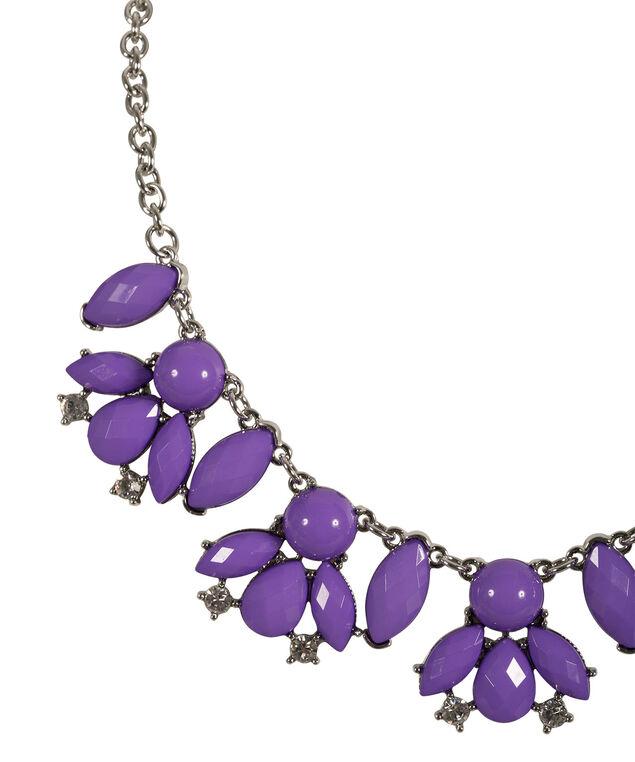 Faceted Stone Necklace Set, Violet/Rhodium, hi-res